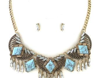 Bohemian Empire Statement Necklace, blue necklace, blue statement necklace, blue bib necklace, gift ideas, turquoise chunky necklace, urban