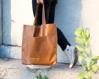 Public Tote - All leather tote bag, unisex, leather tote, tote bag, soft leather.