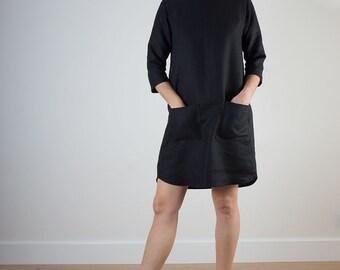 Black comfortable linen womens shift dress