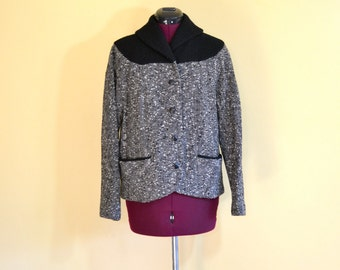 1950s Vintage Tailored by Buddy Bates Black and White Tweed Jacket