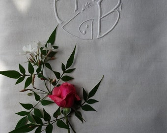 Beautiful Linen Sheet, French Antique, Unused French, Monogrammed R.B Unused - Circa 1910's