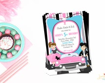 50's Theme Party Birthday Invitation or Evite - Sock Hop Invitation - Double Sided - DIGITAL FILE ONLY