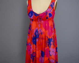 70s Psychedelic Print Slip Dress