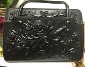 Hand Tooled Black Leather Bag