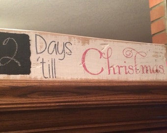 Rustic Wood Chalkboard Days 'till Christmas Sign Decor