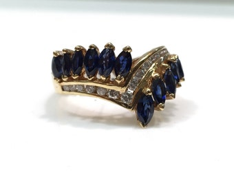 Sapphire and Diamond Statement Ring in 14K Gold