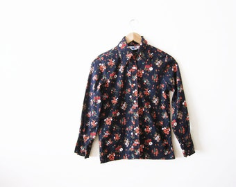 70s shirt / floral button down / vintage floral print womens top / Coral Navy Blue