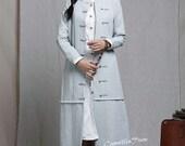 Pleated Linen Dress in blue / Long linen cocktail dress / maxi linen dress, loose fitting tunic dress