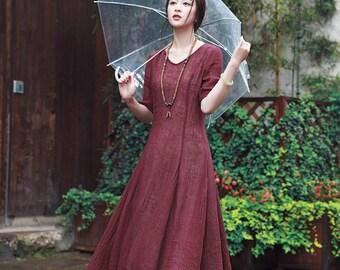 purple linen evening dress, maxi linen dress, flared dress, long linen dress, plum dress, evening dress, cocktail dress, kaftan dress