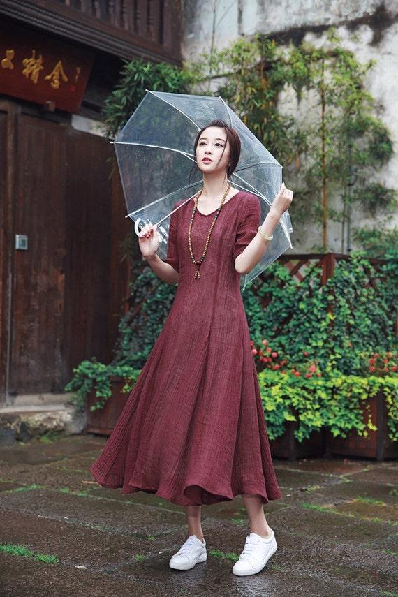 abito rosso lino vestito da sera abito lungo su misura. Black Bedroom Furniture Sets. Home Design Ideas