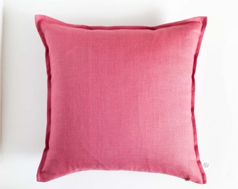 Dark pink throw pillows - raspberry pink pillow cover - dusty cedar pillow - natural linen decorative pillows - cushion case - accent pillow