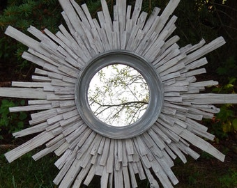 Driftwood Gray Sunburst Mirror, Costal Wall Art, MADE to ORDER