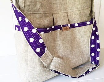 Linen and Purple Dots Diaper Bag