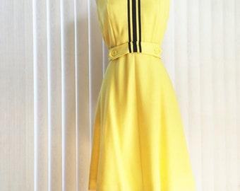 Vintage 70s yellow summer dress/ yellow polka dot black ascot tie/ lemon yellow cotton dress/