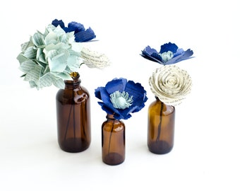 Paper Floral Arrangement of Anemones, Hydrangea, Roses - Book Page Flowers in Brown Bottle Vases - Color & Book Customized Wedding Decor