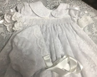 Christening dress with bonnet size 6-12months smocked hand made