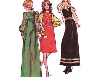 """1971 Vintage Empire Waist Maxi, Day or Midi Length Dress, Modified Jewel Neck, Shaped Bodice, Trim Options, McCall's 3023, Bust 34"""""""