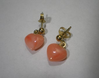 Vintage NOS 14 kt Yellow Gold Angel Skin Coral Heart Drop Earrings
