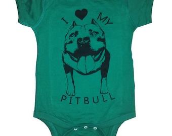 Baby Infant I love my PIT BULL one-piece pitbull Dog bulldog creeper one piece shirt Onesie Bodysuit