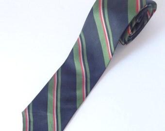 vintage skinny tie/ 60s necktie/ black green red ivory stripes