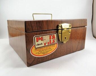 Porta File Metal File Box, Wood Grain Lithograph, Portable Office Retro Storage Box, Industrial Organizer, Industrial Storage, Faux Wood Box