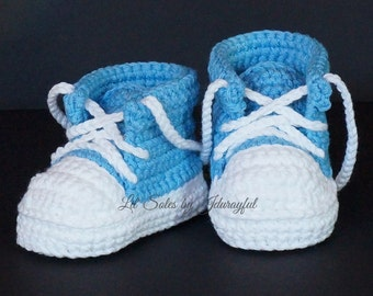 Baby Sneakers, Baby Tennis Shoes, Baby Converse, Baby Chuck Taylors, Crochet Baby Shoes, Boy Baby Shoes, Baby Shower Gift, Blue Baby Shoes