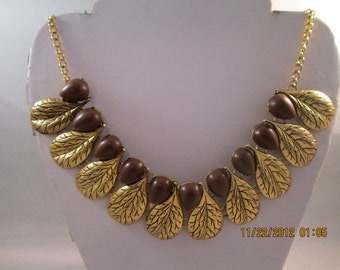SALE Gold Tone Chain Necklace with Gold and Brown Teardrop Pendants