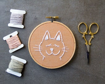 Embroidery, Cat Embroidery Hoop Art, Hand Stitched, Hand Embroidered, Cat Art, White Cat, Embroidery Cat, Happy Cat, Minimal Modern
