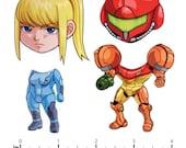 Mix and Match Magnets: Zero Suit Samus, Varia Suit Samus (Metroid Set)