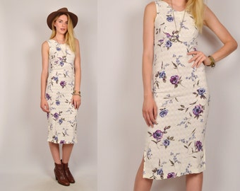 White Floral Midi Dress White Bodycon Vintage