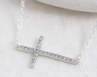 Sideways cross necklace, Cubic Zirconia Cross Necklace, Sterling silver cross necklace, Celebrity Inspired Jewelry, Selena Gomez Cross.