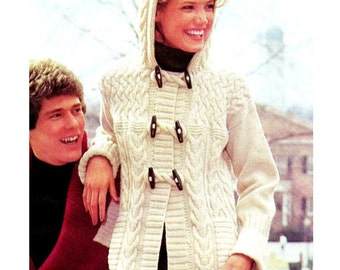"Vintage 70's Knit Aran ""HOODED"" Duffle Sweater Coat / Pullover - PDF Pattern"