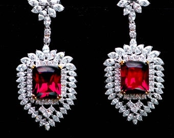 Sterling Chandelier Cubic Zirconia Diamond Pave Ruby Red Big Drop Earrings