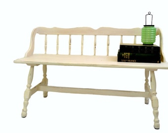 White Lightly Distressed Spindle Back Bench - Cottage Country, Entry, Mudroom