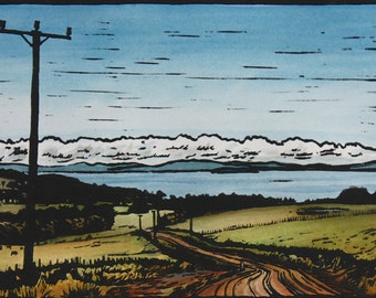 Large Hand Painted Lino Cut Print, Original Landscape Lino Print, Country Australia
