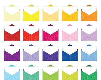 Open Envelope Clip Art Set | Blank Letter White Page Fill-In Graphic Rainbow | Digital Illustration Stock Icons | Personal or Commercial Use