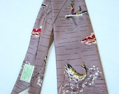 RESERVED 1940s Novelty Gone Fishing Men's Vintage Pilgrim Rayon Tie FREE SHIPPING