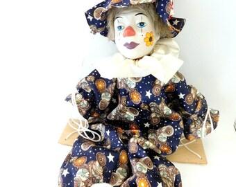 Marionette Clown With Porcelain Head, Clown Puppet