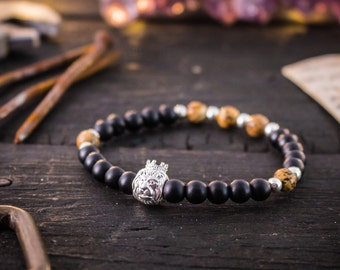 6mm - Matte black onyx & jasper stone beaded stretchy bracelet with sterling silver Lion and beads, made to order mens beaded bracelet