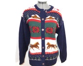 Horse and Buggy Christmas - Novelty intarsia christmas sweater - Cardigan - snowflakes, hearts, presents - XL WOOL ugly