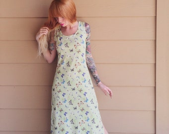 Hella 90's BUTTERFLY Club Kid Pastel Green Tie Dye Maxi Dress // Women's size Small S