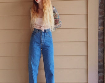High Waisted 90's BOHO Straight Leg Mom Jeans with Embroidered Lace at Ankle // Women's size 27 Medium M