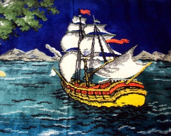 VELVET TAPESTRY WALL Hanging Ships Sailing Harbor Lighthouse Mid Century Groovy