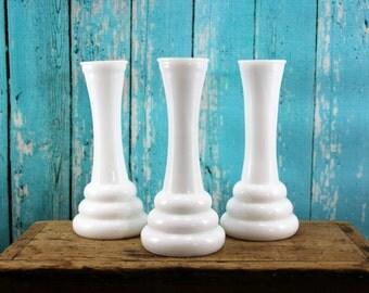 3 Randall Matching Milk Glass Short  Bud Vases, Collection, Lot,  Wedding, Centerpiece, Shabby Chic, shower, Mid Century