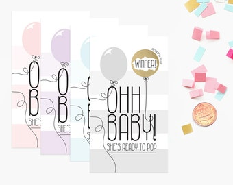 10 Gold Ohh Baby Balloon She Is Going to POP Scratch Off Game Cards - Baby Shower Game - Pink, Blue, Purple, Grey