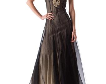 Vintage 1930s Bias Cut Gown with Lace Details Size: XS/S
