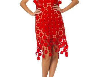 Vintage 1960s Red Lace Party MOD dress  Size: XS/S/M