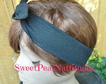Wire Dolly Bow Classy Dapple Black Wired Headband  Rockabilly Rabbit Ears Bandana  Turban