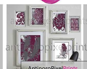 Ikat Feather Thankful Burgundy Grey Watercolor Collage Wall Art Set of (6) Prints (1) 11x14,(1) 8x10, (2) 5x7 (2) 4x6  #279499682 (Unframed)