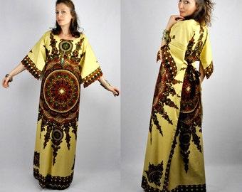 Caftan Dress Dashiki Dress Maxi Dress Wrap Dress Bell Sleeves Tunic Dress 70s Gypsy Boho Indian Hippie Festival Ethnic Trapeze Batik S M